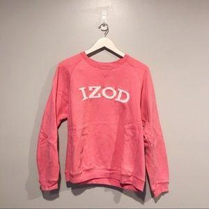 Izod Cotton Pink Logo Crewneck Sweatshirt